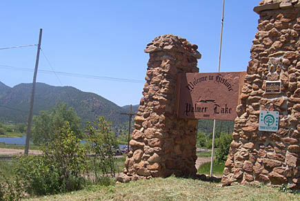 Welcome sign to Palmer Lake, Colorado