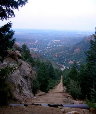 Manitou Springs Incline-Looking down from