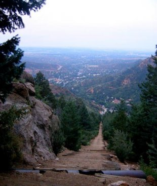 The Incline, Colorado Springs, CO-Colorado Springs and Manitou Springs as seen from
