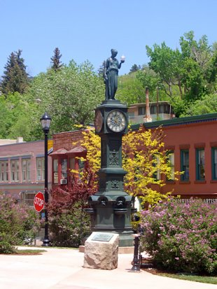 Wheeler Town Clock-Wheeler Town Clock, downtown Manitou Springs, Colorado (medium sized photo)