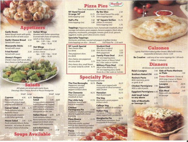 Menu for Borriello Brothers Pizza (downtown location) in Colorado Springs, Colorado